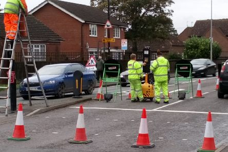 An image from the scene of the emergency gas works.