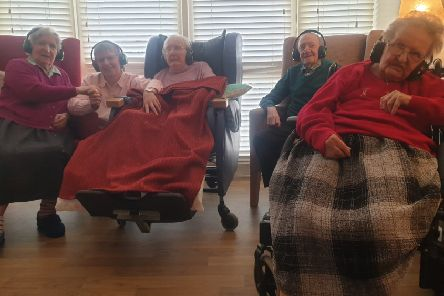 Wireless headsets have brought new joy into the lives of residents at Sandringham Care Home From left Nan Allen who loves to dance, Christina Wallace with her mum Grace who enjoys the music, Ronald Cooke (Cookie) who is a talented dancer and Beth Grafton who has rekindled her love of singing