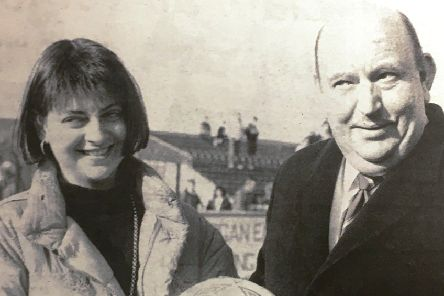 The ball for the Irish Cup game between Glenavon and Ards in 1992 was presented to Blues chairman Bert Megarrell by Elaine Warren