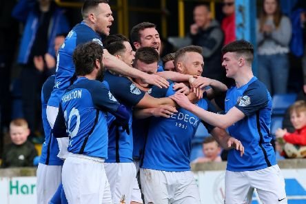 Celebration time for Glenavon following injury-time success over Crusaders. Pic by Pacemaker.