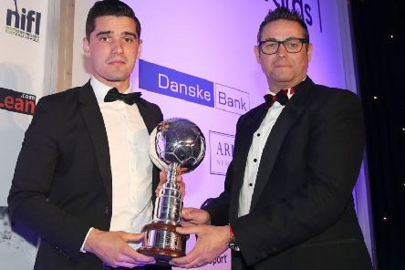 Danske Bank's Chris Marshall presents Jimmy Callacher with the Player of the Year Award.