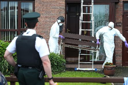 Police at the Scene after shots were fired at a house  on Ballynamoney Road in Lurgan in County Armagh, Pic  Colm Lenaghan/Pacemaker