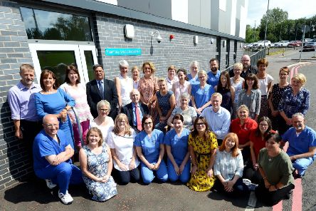 Pictured are Southern Trust staff and members of the McWilliams family celebrating the opening of the new Aseptic Suite at Craigavon Area Hospital.