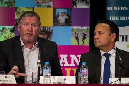 UUP MLA Doug Beattie (left) and Taoiseach Leo Varadkar during Feile an Phobail's, Leader's Debate, at St Mary's University College, Belfast. Photo: Liam McBurney/PA Wire
