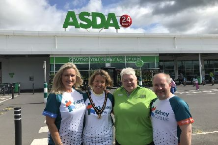 Gearing up to support Organ Donation Week at ASDA Portadown ' from left to right: Jo-Anne Dobson ' NI Ambassador for Kidney Care UK, Deputy Lord Mayor Cllr Margaret Tinsley, Elaine Livingstone ' ASDA Community Champion and Andrew Cromwell ' Kidney Care UK.
