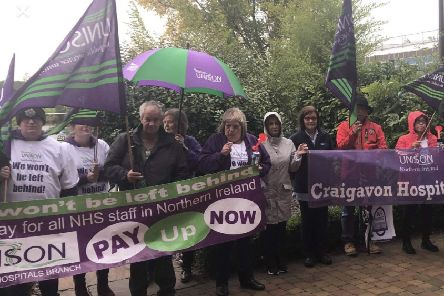 Unison protestors at Craigavon Civic Centre