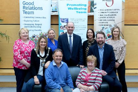 Pictured at the celebration of 'Positive Ageing' to mark International Day of Older Persons are Michael Cairns, Oznam Men's Shed, Ann McCrory, Lurgan, Carmel McKenna, Jethro Centre, Mealla Campbell, Lord Mayor of Armagh, Banbridge and Craigavon Council, Donna Haughian, Locality Manager Promoting Wellbeing, Southern Health and Social Care Trust, Gerard Rocks, Assistant Director Promoting Wellbeing, Southern Health and Social Care Trust, Sinead Taylor, Community Development Worker, Promoting Wellbeing, Southern Health and Social Care Trust, Eddie Lynch, Commissioner for Older People for Northern Ireland and Tracey Powell, Community Development Worker, Southern Health and Social Care Trust