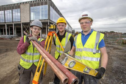 Up to 20 apprentices are experiencing first class on-the-job training with local construction and engineering firm Farrans as part of Armagh City, Banbridge and Craigavon Borough Council's stunning new �35 million leisure complex in Craigavon which is on track for completion next year. The dedicated programme to provide a new and exciting range of opportunities for young people keen on progressing a career in the construction sector started last year and apprentices are being deployed across a range of roles. Pictured are (l-r) apprentices Abigail Reilly, Kealan McCambridge and Daire Tennyson.