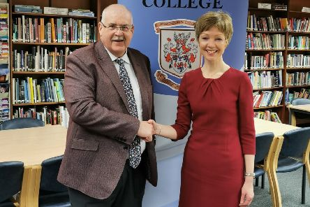 Miss Gibb is welcomed as the new College Principal at Portadown College by the Board of Governors Chairman, Mr Peter H Aiken.
