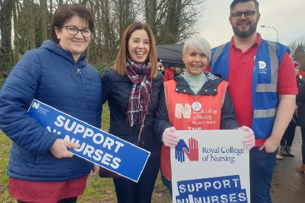 Some of the nurses who were on the picket line at Craigavon Hospital on Wednesday