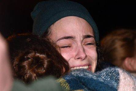 Heartbroken fiancee of murder victim Nathan Gibson at a special vigil in his memory last night