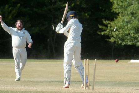 Dunstable bowler Matt Woodcock celebrates a wicket against Flitwick