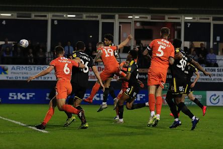 James Collins makes it 2-1 to Luton this evening