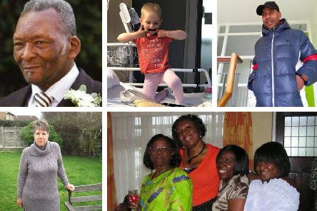 Clockwise from top life: Dee's father, little girl Darcey, Tene's uncle, Nike's loved ones, and team member Sonya.