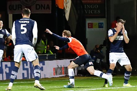 Callum McManaman nets his first goal for the Hatters earlier this month