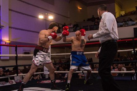 Chris 'Spartan' Davies in action against Andy Bishop on the HighRize show.