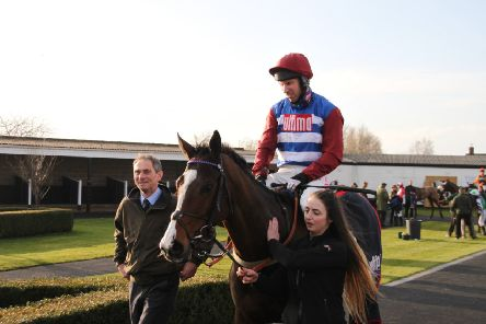 Winner of the �21,800 Market Rasen Town Council Handicap Hurdle Dino Velvet returns to the winners enclosure with Wayne Hutchinson on board.