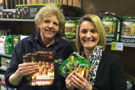 Sheila Johnson of Mole Country Stores presented Headteacher Rachel Osgodby with a range of vegetable and salad seeds plus multi-purpose compost and grow-bags in the new garden section of their Market Rasen store. EMN-190404-154556001