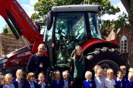 Malcolm Vaughan and Victoria Colebrook from Sir Richard Sutton Limited, Stainton Le Vale visited Caistor Primary School to help the youngest children learn where their food comes from EMN-190613-125513001