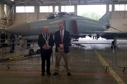West Lindsey District Council Chairman, Coun Steve England and his son-in-law Jason Launders at RAF Scampton EMN-190820-102730001