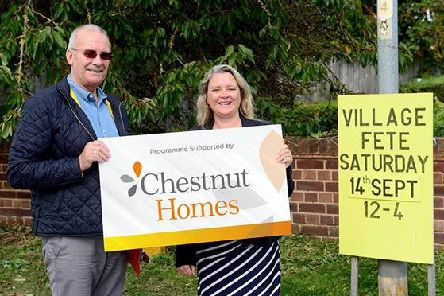 David Rosier, Church Warden at St Chad's with Stephanie Tilley, Marketing Manager at Chestnut Homes.