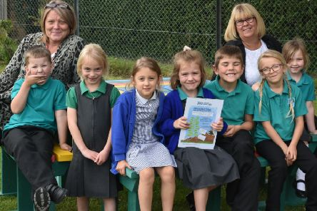 Proud pupils with their spudtastic certificate