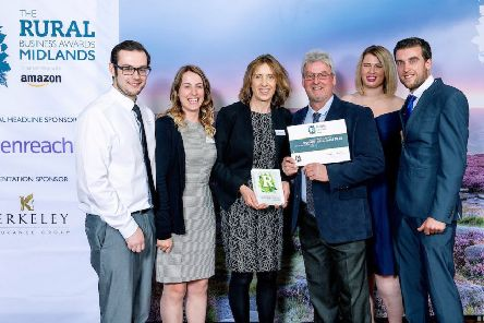 Rural Business Awards 2019, Midlands.'Best Rural Diversification Project:'Winners: Hall Farm Park.'(l-r) Tom Rayson, Becky Knapton, Tracy Knapton, Andrew Knapton, Katie Wray-Carter and Tom Knapton.'''PHOTOGRAPH BY RICHARD GRANGE / UNP (United National Photographers). EMN-191010-104416001