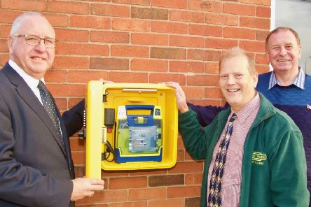 The first defibrillator mounted outside a Freemasons building in Lincolnshire is at the Nightingale Rooms on Nettleham Road in Lincoln. Pictured are, from left: Freemasons Phil Spicksley, who is co-ordinating the work, Steve Harrison, who is doing the installations, and Provincial Grand Master Dave Wheeler EMN-190511-064832001