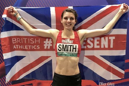 Mari celebrates confirming her place in the British team for the European Indoor Athletics Championships EMN-190220-132728002