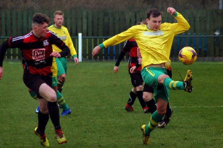 Connor O'Grady at full stretch against Raunds