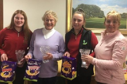 Lady captain Karen (right) presents the Joy Vase to Norma Varley, Laura Harvey and Hattie Dow EMN-190423-155115002