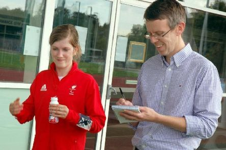 Chris with Paralympic sprint champion Sophie Hahn EMN-190423-192510002