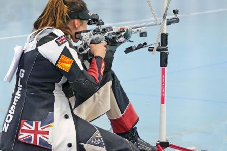 Katie Gleeson takes aim in the final at Dortmund. Picture: Heinz Reinkmeier EMN-190515-124759002