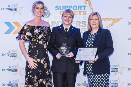 Kimberly Pulley (centre), a member of the Melton response team, with her award for being named Special Constable of the Year at the Leicestershire Police Volunteers in Policing Awards night, with Emma Corns (Volunteers Manager) and Gill Legget (from award sponsor, Police Mutual Assurance Society) EMN-191106-151218001