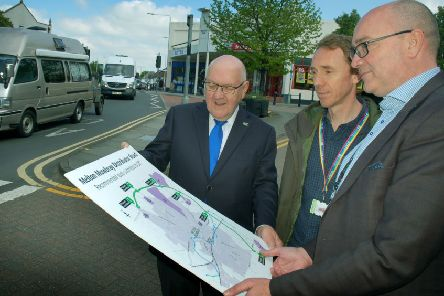 County councillor Byron Rhodes examines the proposed route for the MMDR with County Hall colleagues Ian Vears and Andy Jackson EMN-190814-140910001