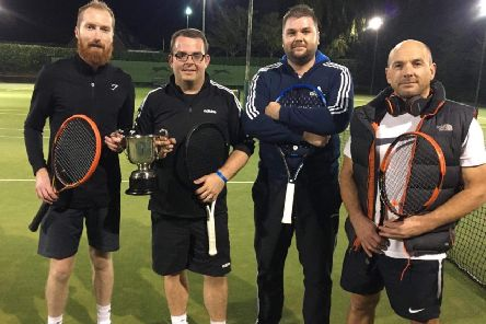 Doubles winners Joe Jackson and Andy Douglas (left) with finalists Mike Crane and Jimmi Cox. EMN-191015-173828002