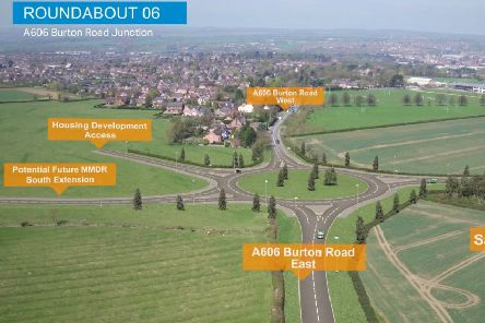 A computer-generated drone flight over the proposed Melton Mowbray Distributor Road (MMDR) showing where the road would end, at a new junction with the A606 Burton Road EMN-190111-111509001