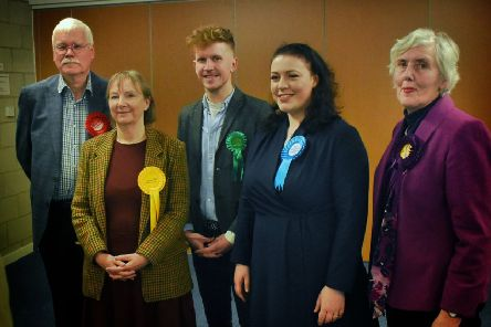 The Rutland and Melton candidates at the General Election hustings event at Melton Baptist Church, from left, Andy Thomas (Lab), Dr Carol Weaver (Lib Dem), Alastair McQullian (Green), Alicia Kearns (Con) and Marietta King (Ukip) EMN-190312-101634001