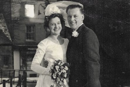 Graham and Hazel Digby on their wedding day at St Mary's Church, Melton, in January 1963 EMN-200115-091339001