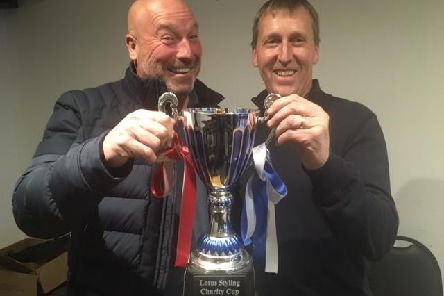 Jez Burton and Nicky Miles with the trophy