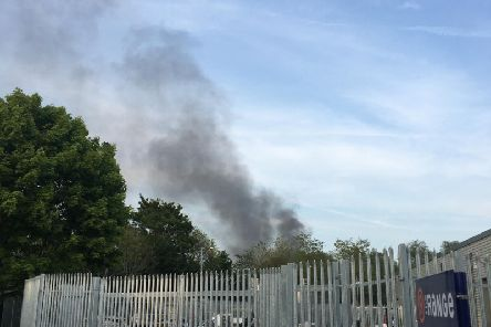 Smoke could be seen coming from the tip.