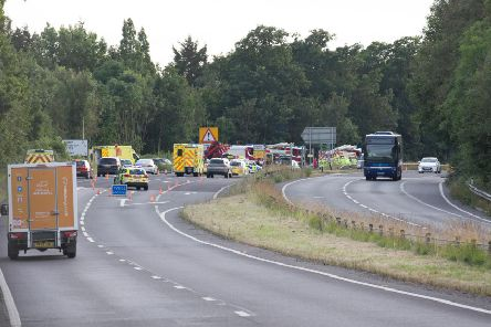 Emergency services at the scene in Arundel last night (July 11)
