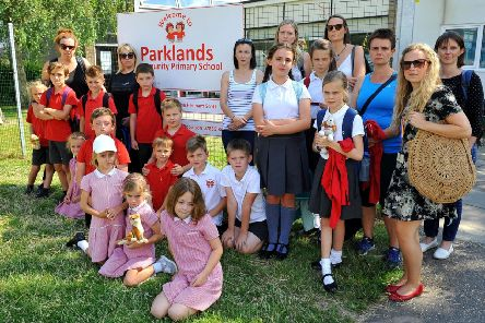Parents and pupils outside Parklands Community School