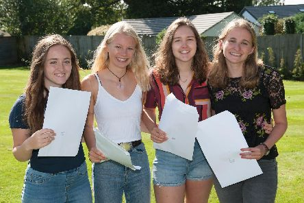 Students from Churcher's College with their A level results