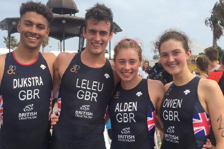 Harry Leleu and teammates after their relay title win at the Euros / Picture by Donna Leleu