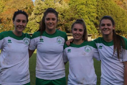 The four scorers in the ladies' cup win over Swindon / Picture by Sheena Booker