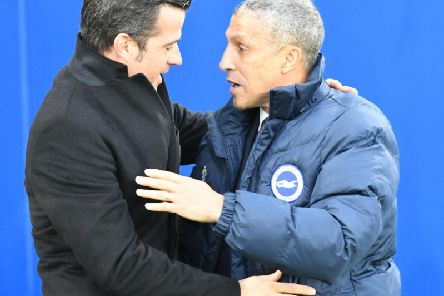 Brighton & Hove Albion manager Chris Hughton and Watford head coach Marco Silva. Picture by PW Sporting Photography