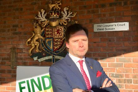James Healy-Pratt, the lawyer representing the families of Becky Dobson, Stuart and Jason Hill and Ellie Milward, outside the West Sussex Coroner's Court in Crawley