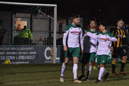 Jimmy Wild is congratulated on his second, which put Bognor 4-2 up / Picture by Darren Crisp