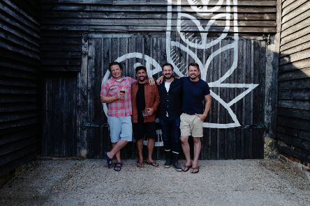 (l-r) Jamie Oliver, Chris Drummond, Sam Robinson and Jimmy Doherty